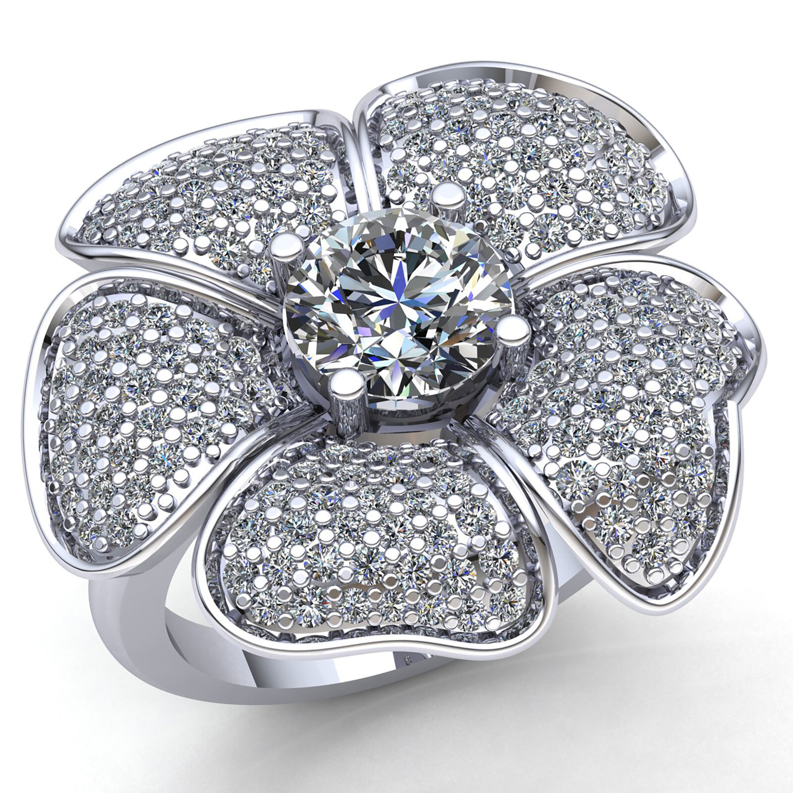 1.5ct Round Diamond Ladies Personalized Cluster Flower Engagement Ring 10K gold