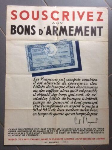 AFFICHE ANCIENNE GUERRE 1939//45 SOUSCRIVEZ AUX BONS D/'ARMEMENT AF316