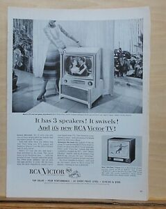 1954 magazine ad for RCA Victor TV sets - Carrol model, 3 speakers & it Swivels!