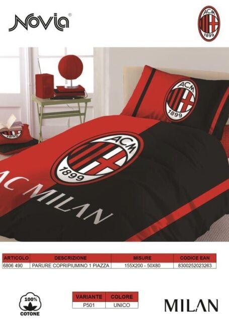 Copripiumino Singolo Milan.Milan 6806 490 P501 Parure Copripiumino Una Piazza Cotone Rosso