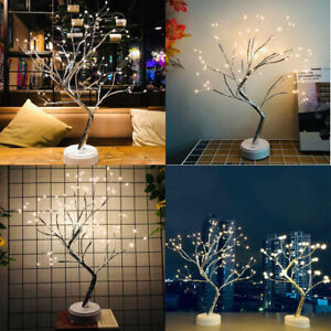 Details About Creative Led Lamp Movable Lighting Pearl Tree Lights Shop Hotel Home Decor Gifts
