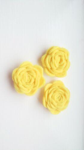 Felt Fabric Rose Flower Embellishments Hand Rolled yellow Crafts