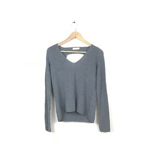 A-L-C-Sweater-XS-Gray-Ribbed-Open-Back-V-Neck-Pullover-Cotton-Women-s-Top