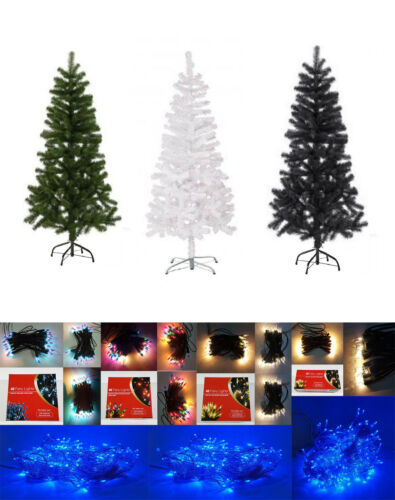 5 4 3 Artificial Xmas Tree Pine Fern White Green Black 2 6 /& 7ft /& Lights