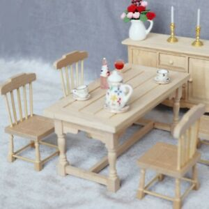 1:12 Dollhouse Miniatures Wooden Dining Table Chair Furniture Model Charm