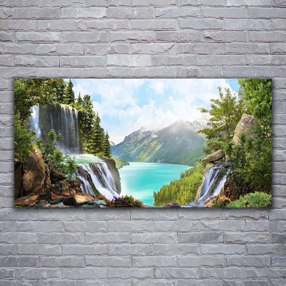 - Tela Immagini Immagine Parete Tela Stampa d'Arte 120x60 montagne baia Cascata Natura