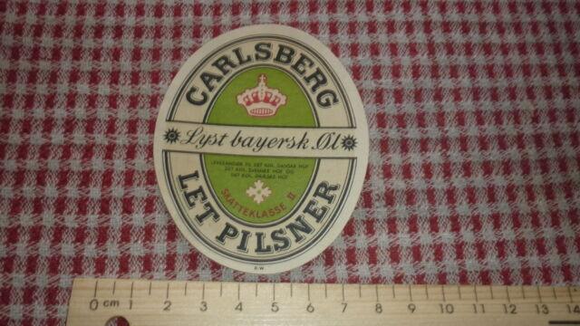 1940s DANISH BEER LABEL, CARLSBERG BRYGGERI COPENHAGEN DENMARK, LET PILSNER