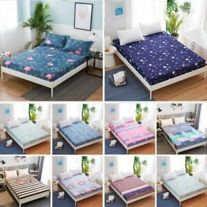 Floral-Printed-Fitted-Sheet-Full-Queen-King-Polyester-Bed-Cover-Pad-Size-Set-New