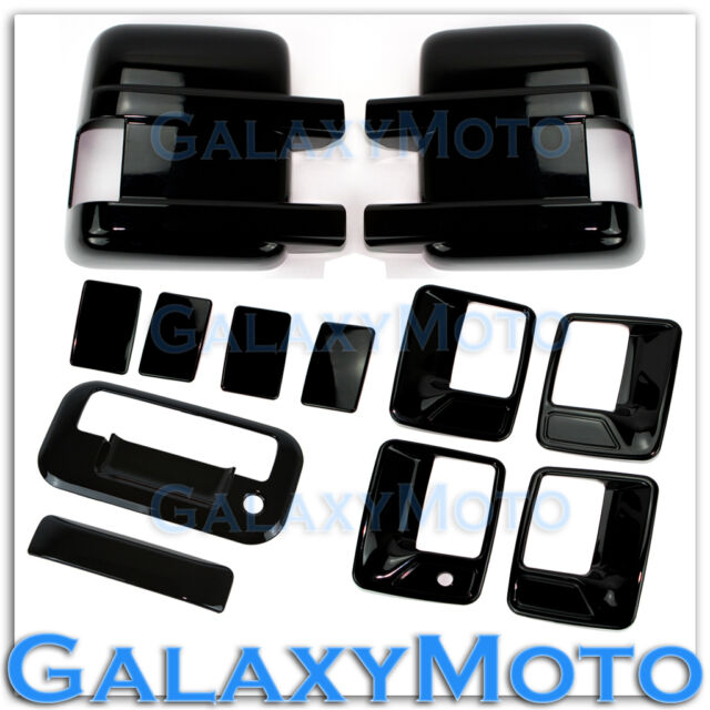 08-15 Ford Super Duty Black Mirror+4 Door Handle w/o PSG Keyhole+Tailgate Cover