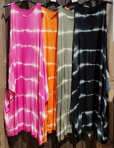Femmes Kaki Tie Dye Parachute Robe Lagenlook Italy s/'adaptera UK 10-24