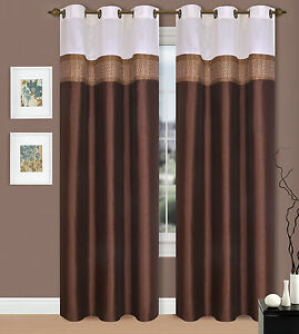 Brown White 2 Mix Color Panels Solid Grommet Shiny Window