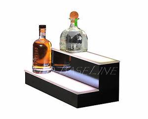 21 Quot 2 Tier Step Led Lighted Back Bar Liquor Bottle Shelf