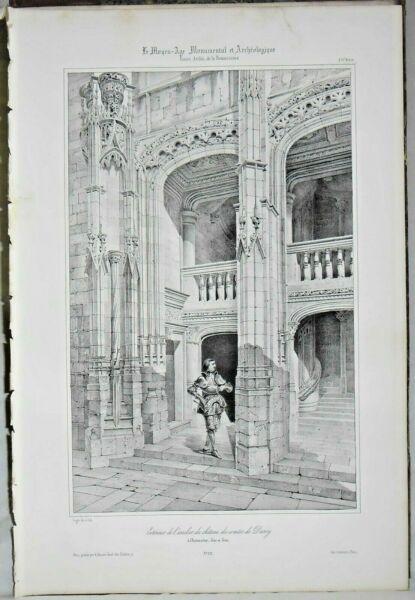 Lithografie Auswärts An Der Treppe Das Schloss Von -märchen Dunoy Zu Chateaudun Diversifizierte Neueste Designs
