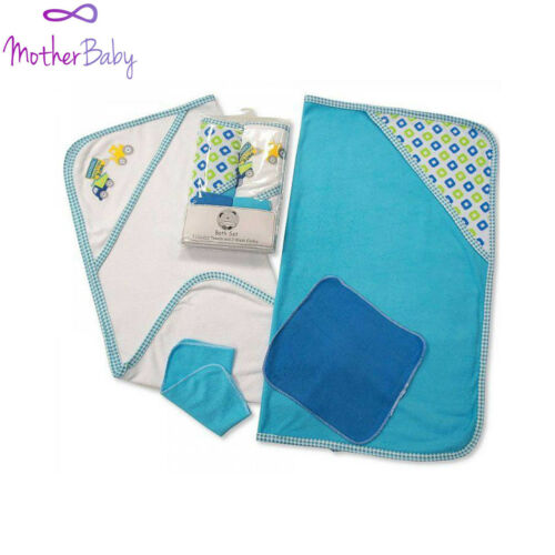 Baby Hooded Towel Wash Cloth Set 100/% Cotton Blue Red Yellow Gift Shower Soft