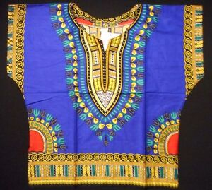 African Kids Boys Children Dashiki Mexican Poncho girls Top Blue Yellow one size