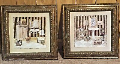Two Art Prints Framed With Glass French Country Bathroom 16x16 C Winterle Olson Ebay