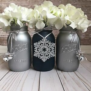 Image Is Loading Navy Blue And Silver Mason Jars Christmas Table