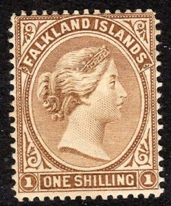 Falkland-Islands-1891-yellow-brown-1-crown-CA-mint-SG38
