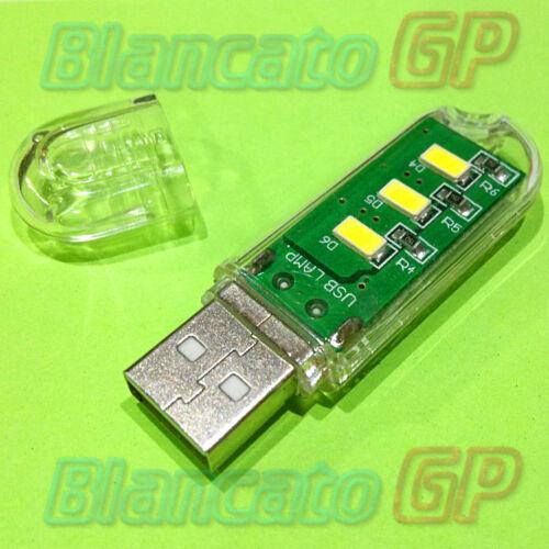 MINI LAMPADA LED USB da scrivania 350mA 1.7W luce notturna notebook portatile pc