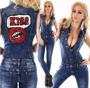 36fd21467ce824 Das Bild wird geladen Damen-Jeans-Overall-Hose-Jumpsuit-Roehrenjeans-Denim- Hosenanzug-