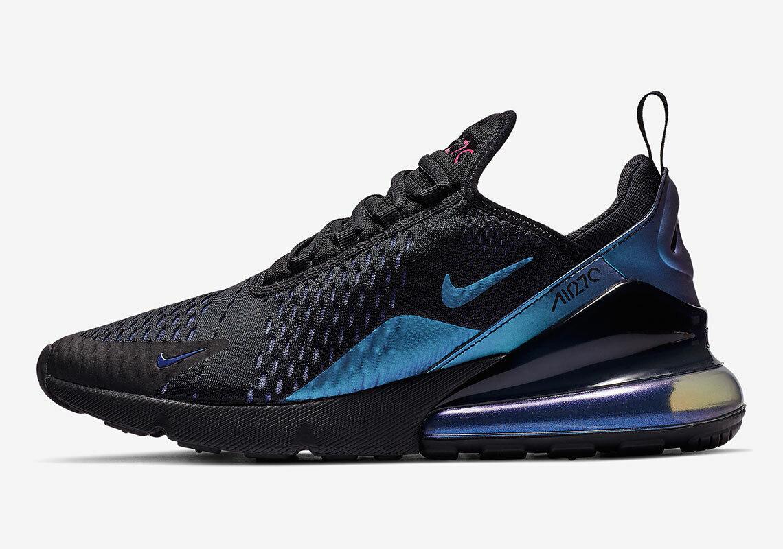 New Nike Men's Air Max 270 shoes (AH8050-020) Black Laser Fuchsia-Regency Purple