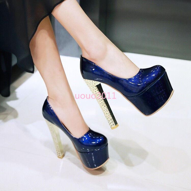Women Block High Heel Patent Leather Platform Nightclub Slip On Sexy Pumps shoes