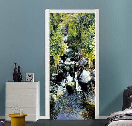 3D Bergbach 74 Tür Wandmalerei Wandaufkleber Aufkleber AJ WALLPAPER DE Kyra