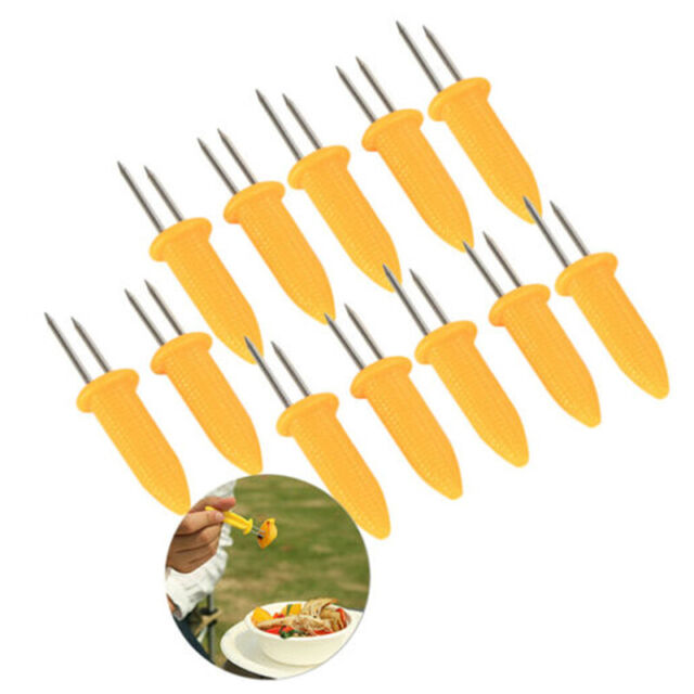 6× Novelty  Stainless Steel Corn On The Cob Holders BBQ Prongs Skewers For Party