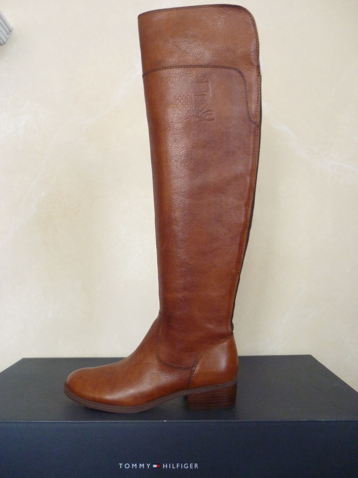 Tommy Hilfiger Giorgia Tall Brown Leather Boot Size 6 M