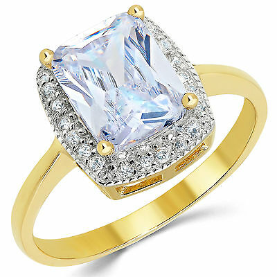 14K Solid Yellow Gold CZ Cubic Zirconia Solitaire Engagement Ring 2.5 Ct.