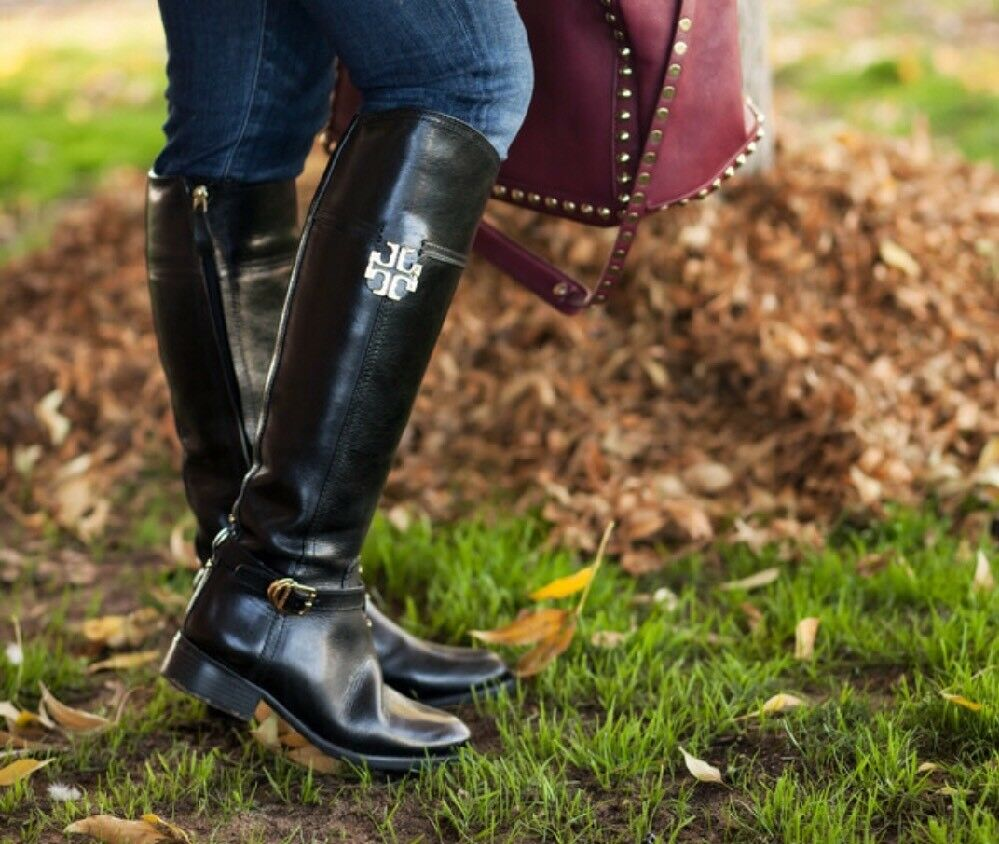 PO Def Women's Tory Burch Eloise Tall Black Leather Riding Boots $495 Brazil