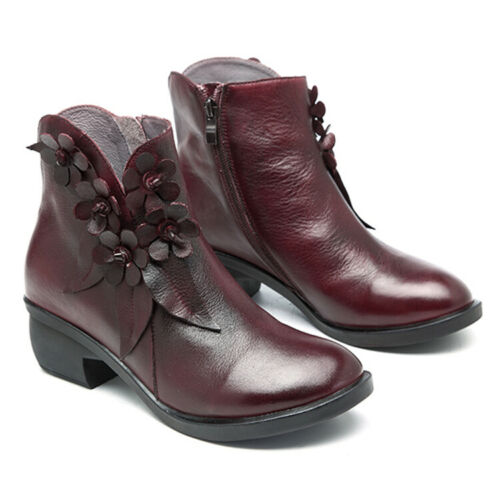 SOCOFY Women Vintage Handmade Leather Ankle Boots Casual Floral Zipper Shoes