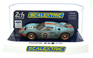 Scalextric-C4104-Ford-GT40-Gulf-9-Weathered-24-Hours-Le-Mans-1968-1-32-Slot-Car