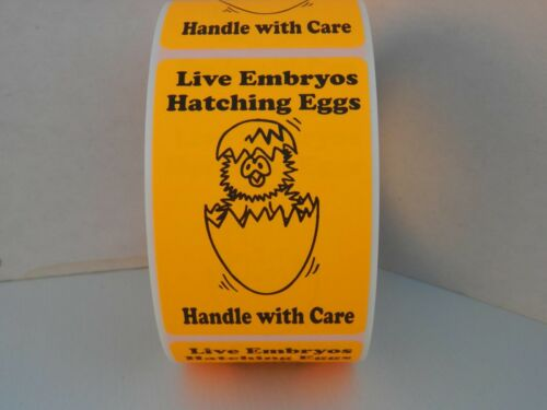 LIVE EMBRYOS HATCHING EGGS HANDLE WITH CARE fluorescent orange 2x3 Label 250//rl