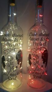 Beauty And The Beast Led Light Up Bottle Night Light Gift Valentines, Gift Boxed