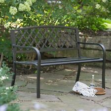 garden bench metal patio outdoor furniture seat porch park backyard chair steel