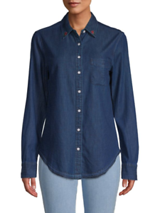 NWT RAG & BONE JEAN Cotton Blend Indigo Classic Denim Western Shirt XS