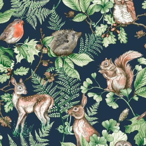 Woodland Animals Wallpaper Nature Forest Leaves Trees Navy Green Natural Matt