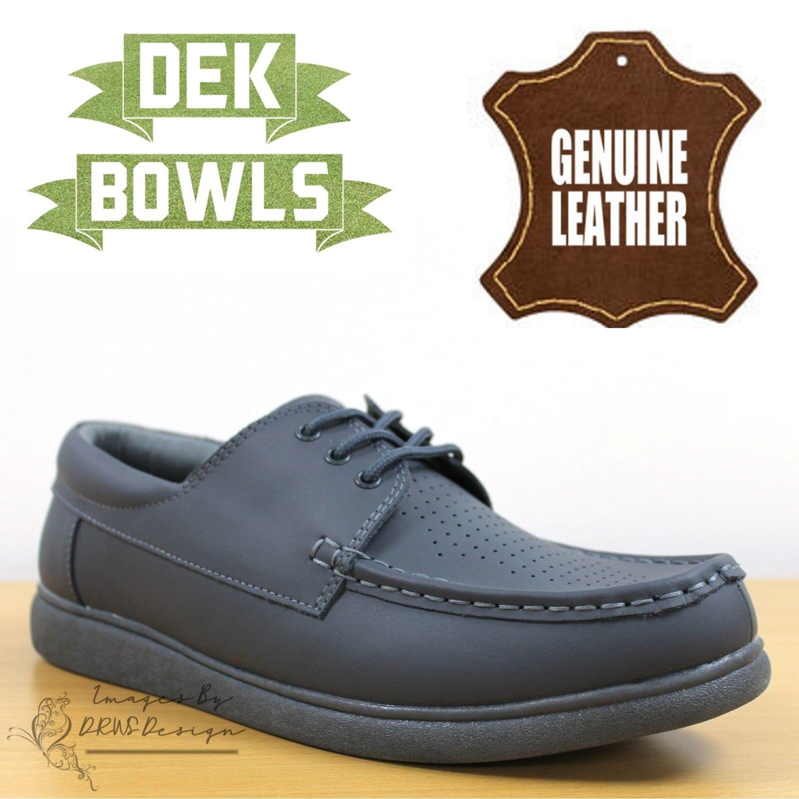 DEK Bowls Unisex Leather Lawn Bowls Trainers Grey Lace Up Men's & Women's shoes