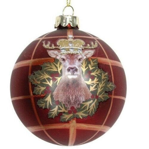 Gisela Graham Christmas Decorations Balmoral Range Queen Tartan Lion