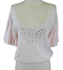 2857e5d59e2 FREE PEOPLE Women's Light Pink Sheer Jewel Accent Crop Top Sz Small ...