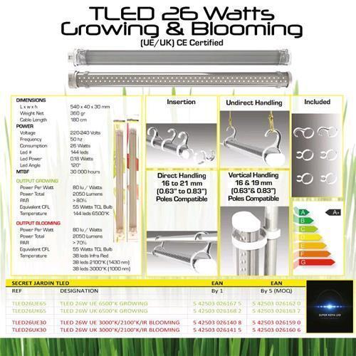 SECRET JARDIN TLED 26W 6500K° Grow growing crescita lampada led coltivazione g