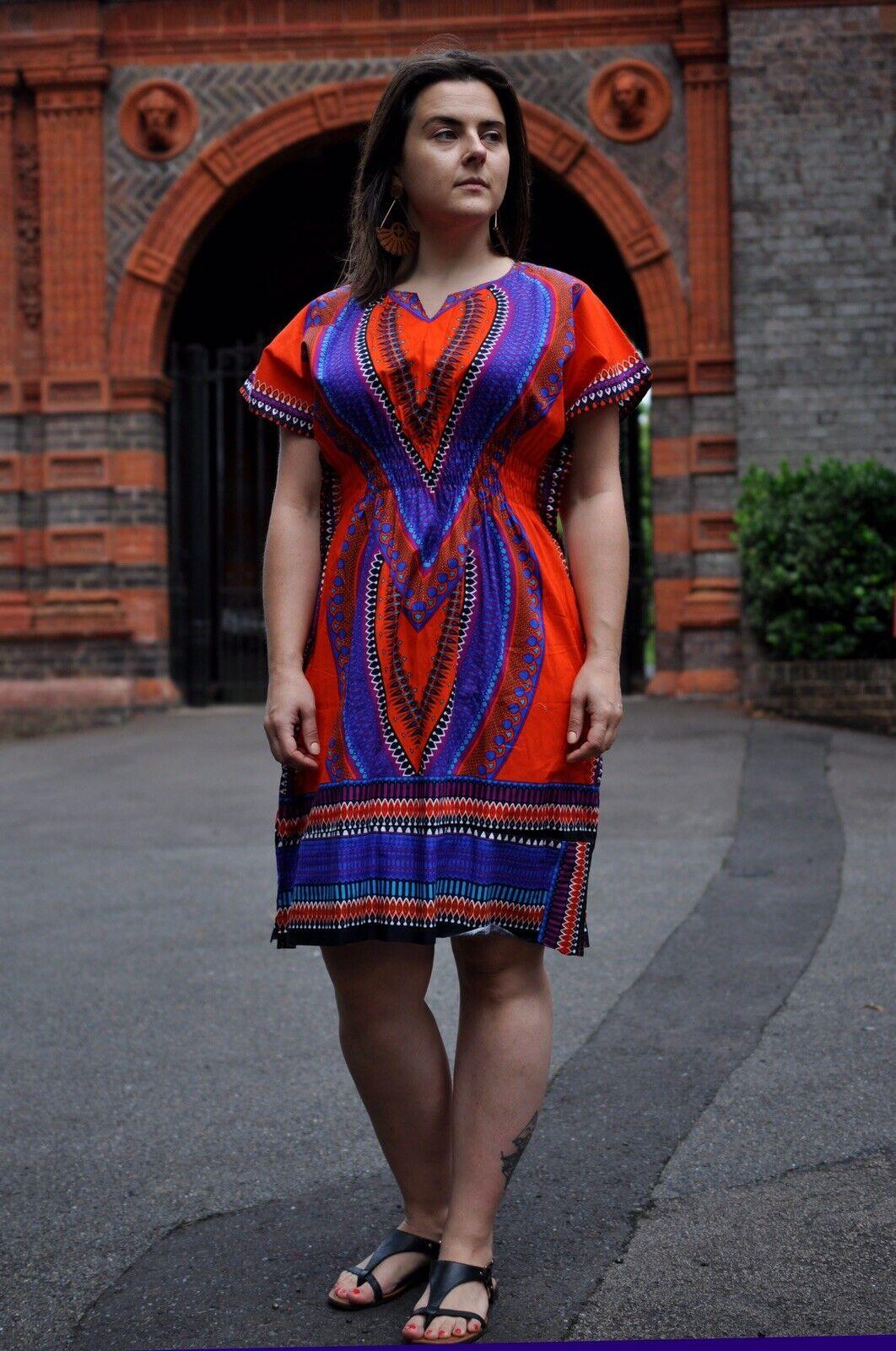 African wax Ankara print Ladies Orange Mini Dashiki clothing Africa-casual wear