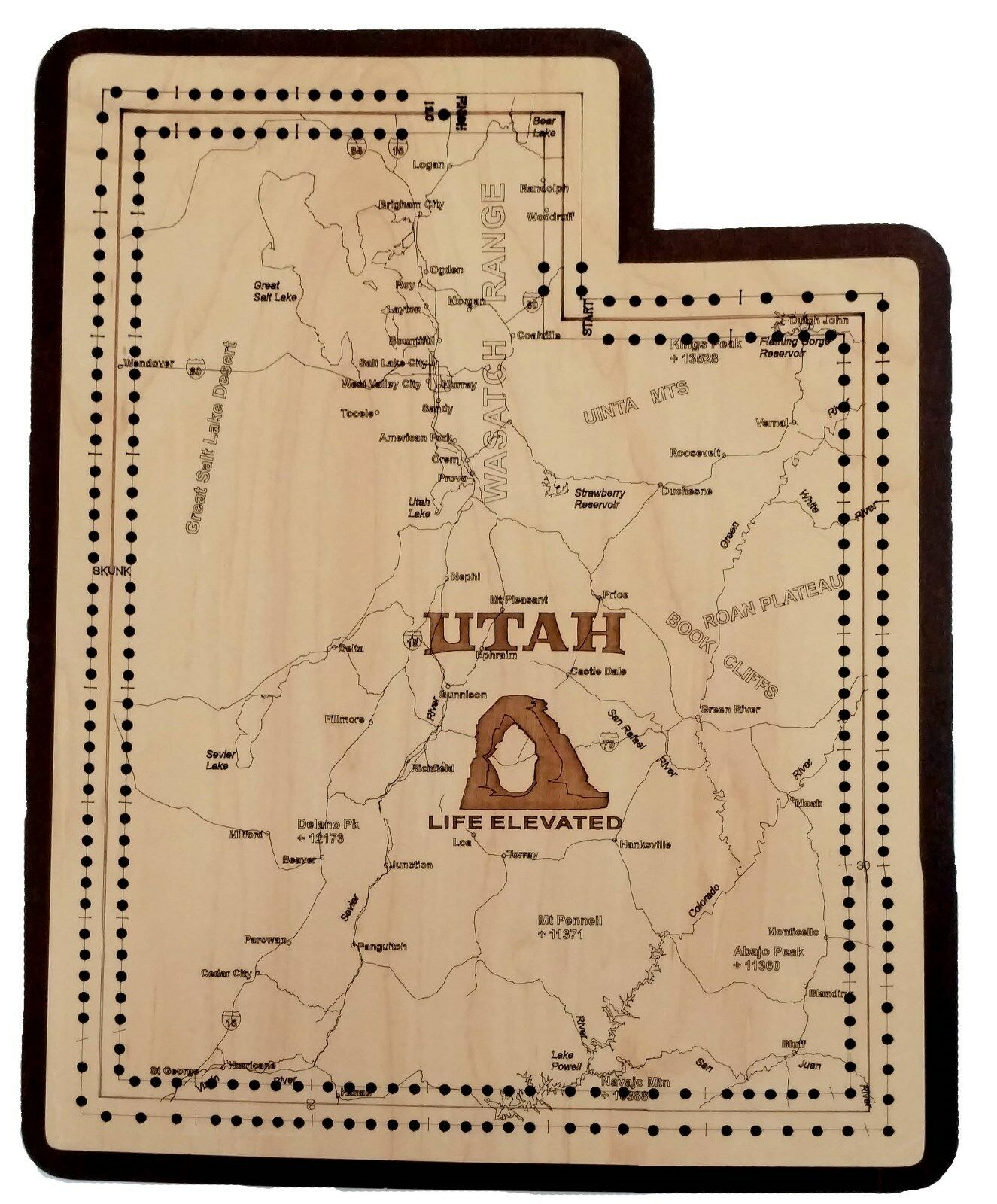 Utah State Shape Road Map Cribbage Board