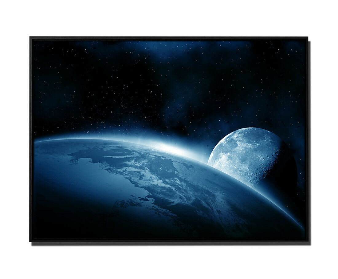 105x75cm Leinwandbild Petrol Weltall Erde Mond Sonnenaufgang
