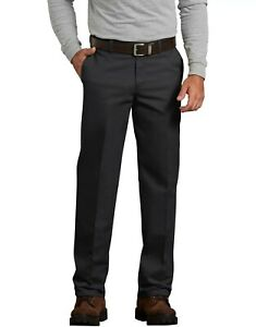Genuine-Dickies-Men-039-s-Flat-Front-Comfort-Waist-Flex-Pants-Black-Straight-Leg