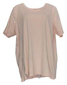 Isaac Mizrahi Live! Women's Plus Sz Top 3X Pima Cotton Tulip Hem Pink A379612