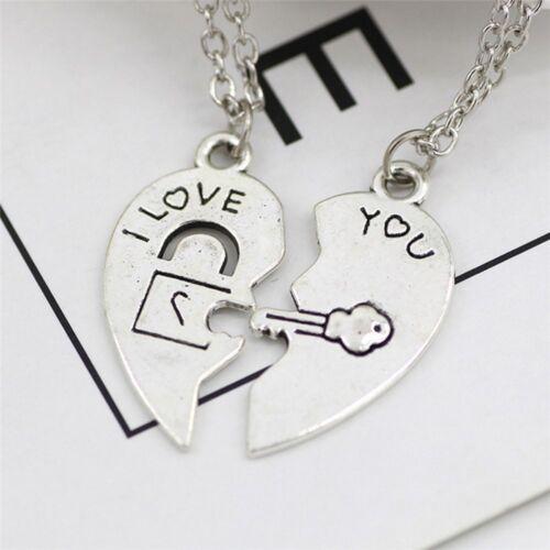 2Teile satz Edelstahl Ich Liebe Dich Lock Key Herz Anhänger für Paar Halskette