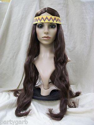 Long Dark Brown Wig w Headband Indian Hippie Willie Nelson 60s Unisex 70s Rocker