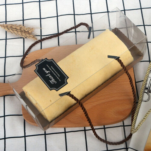 5pcs Clear Cake Box Long Plastic Swiss Roll Portable Packaging Towel Organizer